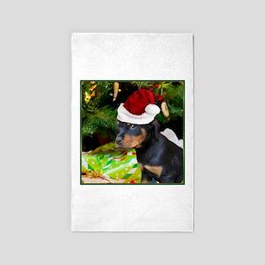 Christmas Rottweiler Puppy Area Rug
