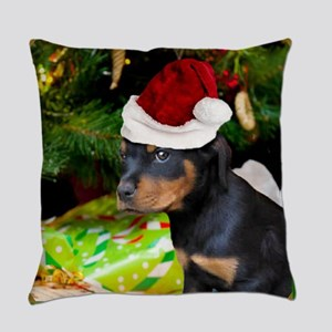 Christmas Rottweiler Puppy Everyday Pillow