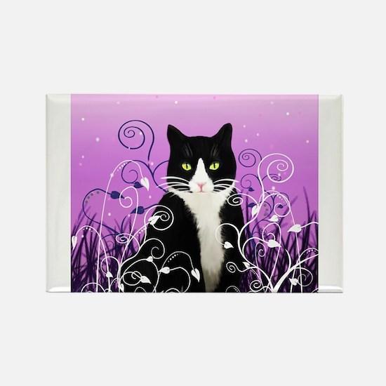 Unique Tuxedo cat Rectangle Magnet