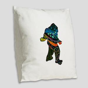 SQUATCH MANIA Burlap Throw Pillow