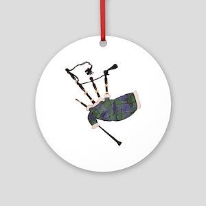 tartan plaid scottish bagpipes Round Ornament