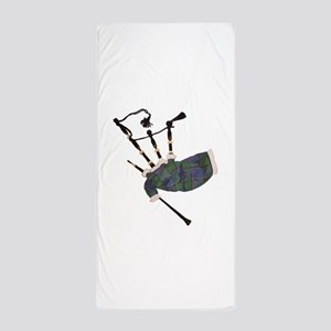 tartan plaid scottish bagpipes Beach Towel