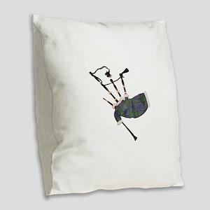 tartan plaid scottish bagpipes Burlap Throw Pillow