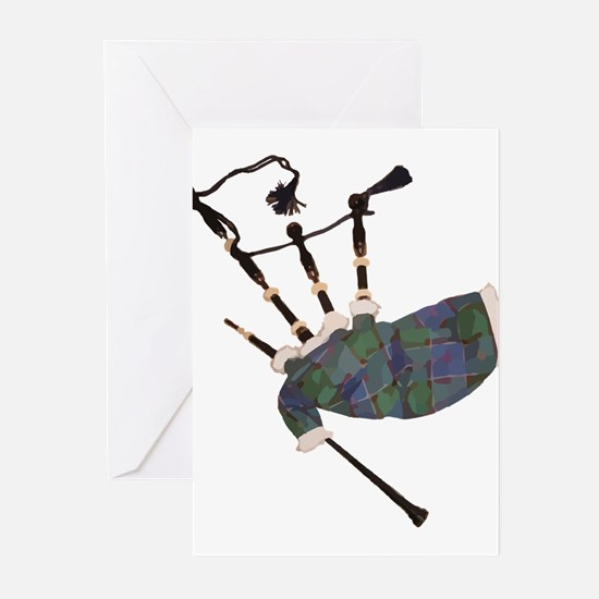 tartan plaid scottish bagpipes Greeting Cards