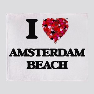 I love Amsterdam Beach Wisconsin Throw Blanket