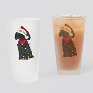 Christmas Labradoodle Drinking Glass