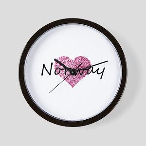 Norway Pink Heart Wall Clock