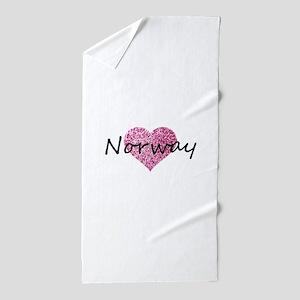 Norway Pink Heart Beach Towel