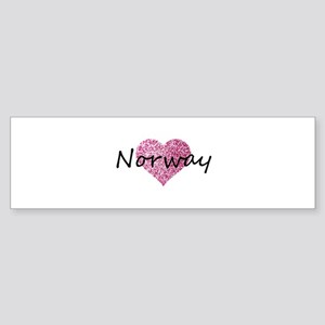 Norway Pink Heart Bumper Sticker