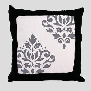 Scroll Damask Art I Grey on Crm Throw Pillow