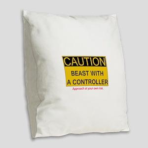 Caution Burlap Throw Pillow