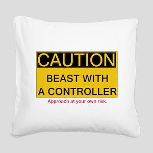 Caution Square Canvas Pillow