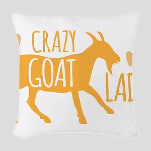 Crazy Goat Lady Woven Throw Pillow