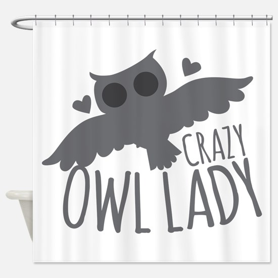 Crazy Owl Lady Shower Curtain