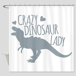 Crazy Dinosaur Lady Shower Curtain