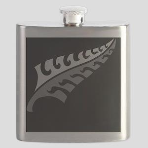 New Silver fern tattoo on black New Zealand Flask