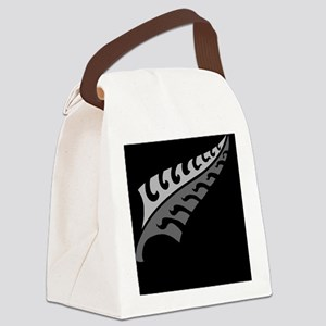 New Silver fern tattoo on black N Canvas Lunch Bag