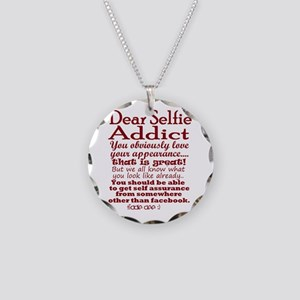 Selfie Addict Necklace Circle Charm