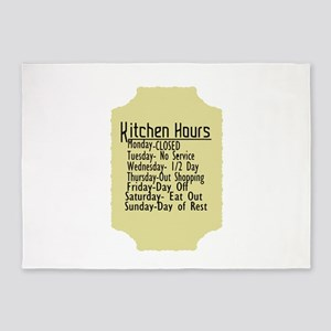 Kitchen Hours Humor 5'x7'Area Rug