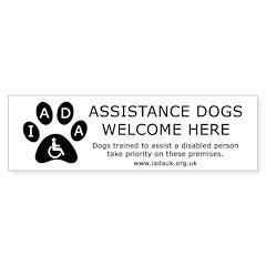 Assistance Dogs Welcome Shop Sign Bumper Car Sticker