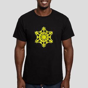 Yellow Snowflake Men's Fitted T-Shirt (dark)