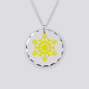 Yellow Snowflake Necklace Circle Charm