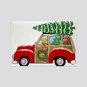 Vintage Christmas Woody Wagon Magnets