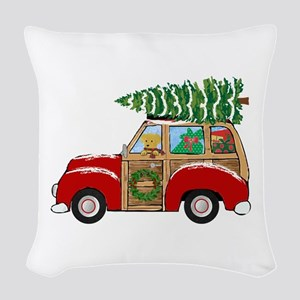 Vintage Christmas Woody Wagon Woven Throw Pillow