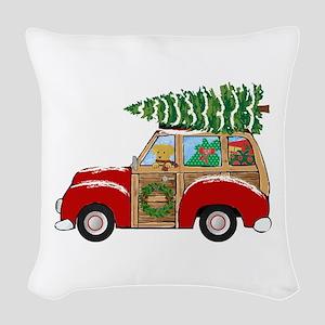 Vintage Christmas Woody Wagon Woven Throw Pillow