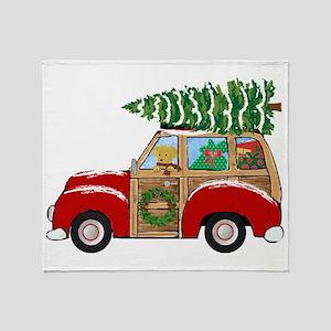 Vintage Christmas Woody Wagon Throw Blanket
