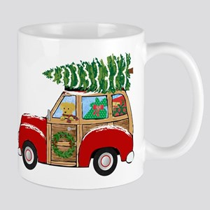 Vintage Christmas Woody Wagon Mugs