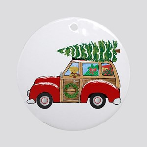 Vintage Christmas Woody Wagon Round Ornament