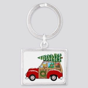 Vintage Christmas Woody Wagon Keychains