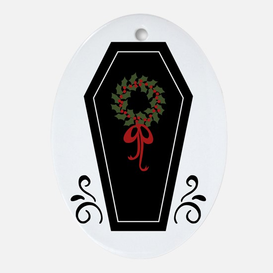 Vampire Holiday Coffin Oval Ornament