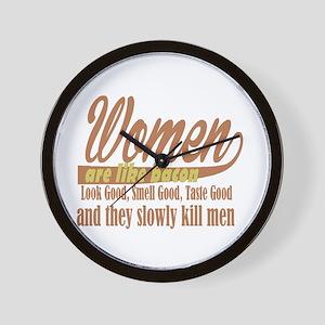 women are like bacon Wall Clock