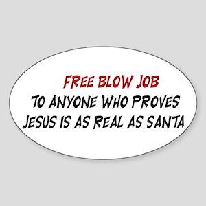 Free Blow Job Oval Sticker