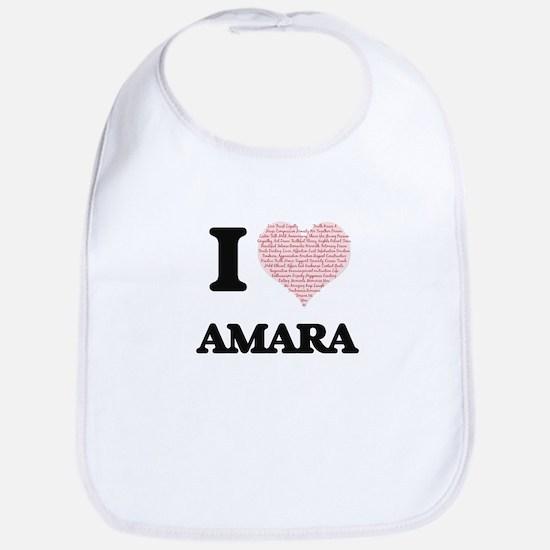 I love Amara (heart made from words) design Bib