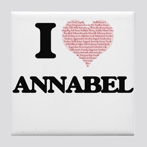 I love Annabel (heart made from words Tile Coaster