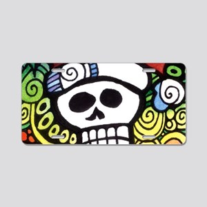 Day of the Dead Feliz Navid Aluminum License Plate