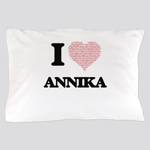 I love Annika (heart made from words) Pillow Case