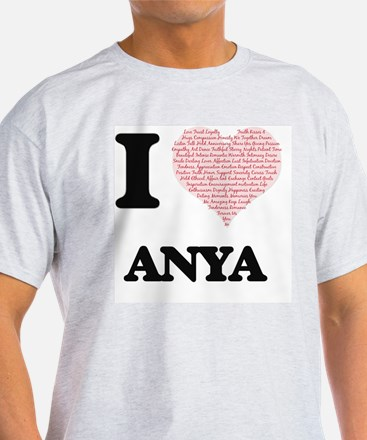 I love Anya (heart made from words) design T-Shirt