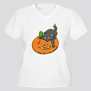 Pumpkin Cat Women's Plus Size V-Neck T-Shirt