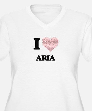 I love Aria (heart made from wor Plus Size T-Shirt