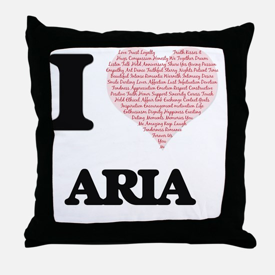 I love Aria (heart made from words) d Throw Pillow