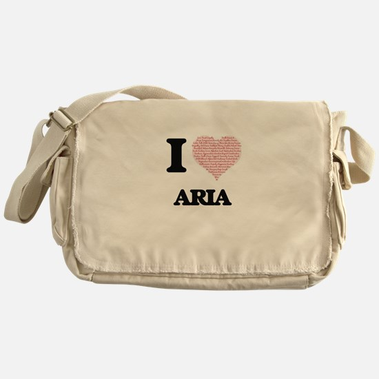 I love Aria (heart made from words) Messenger Bag