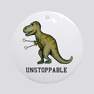 T-Rex Unstoppable Round Ornament