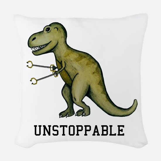 T-Rex Unstoppable Woven Throw Pillow