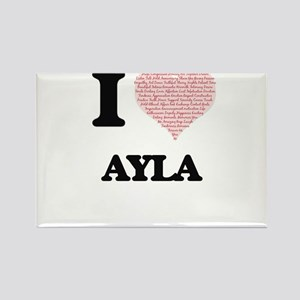 I love Ayla (heart made from words) design Magnets