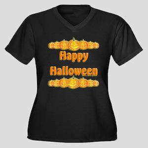 Happy Halloween 3 Women's Plus Size V-Neck Dark T-
