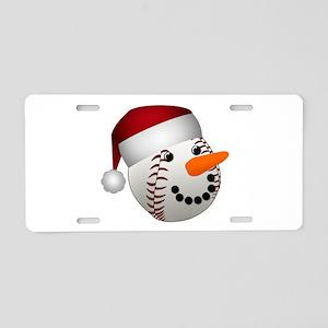 Christmas Baseball Snowman Aluminum License Plate